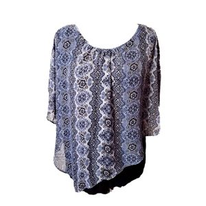 Blue Black Sheer Patterned Overlay Top
